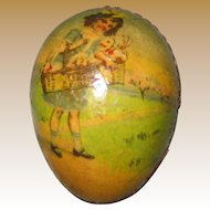 Antique German small paper litho Children graphics egg Christmas Ornament candy container