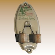 Antique Christmas tin Advertising broom holder