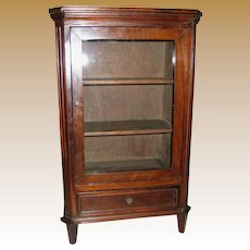 Antique doll miniature cherry mahogany display cabinet book case glass front
