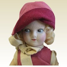 Antique Felt cloth doll pink clothes