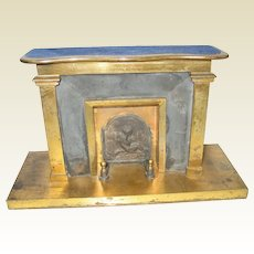 English antique doll house vignette Brass cherub large fireplace