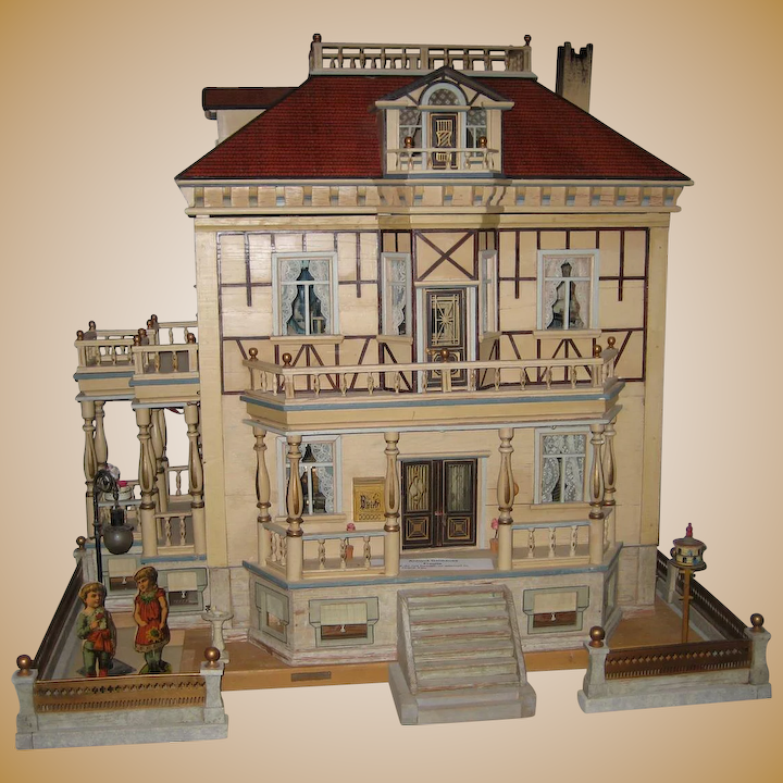 Antique German Christian Hacker Mansion Dolls House Sondra