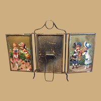 Antique Childs large doll 3 part Children graphics dressing mirror
