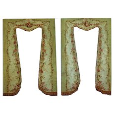 Antique French Aubusson sage green Tapestry drapery panels
