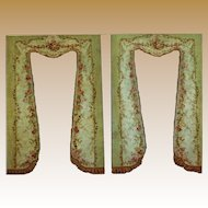 Antique French pair Aubusson sage green lined drapery panels