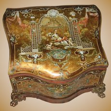 Antique French serpentine Dresser box Embossed Cherubic Scenes