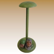 Antique German bisque heads hat stand unusual