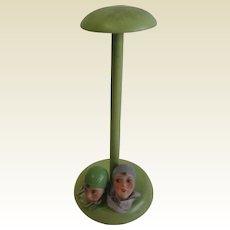 Antique German bisque heads hat stand unusual