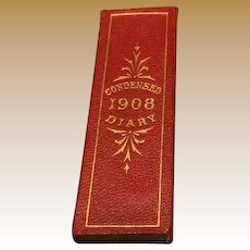 Antique doll c1908 Red leather miniature Diary Fashion size