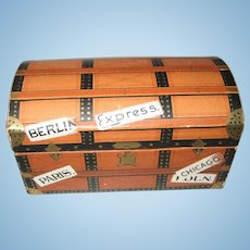 Antique German candy container small doll Trunk