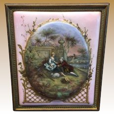 Antique French Enamel copper Bronze Courting Scene picture  gilt bronze frame