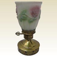 Antique metal decorative lamp light reverse glass decorative pink floral shade