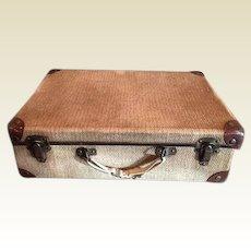Child's antique doll suitcase grass cloth