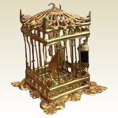 Antique German Miniature Doll House ormolu Erhard Söhne decorative large square bird cage