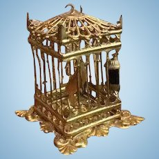 Antique German Miniature Doll House ormolu Erhard Söhne decorative large Bird cage