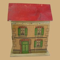 Antique German small cabinet size Red roof paper litho Doll House