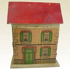 Antique German small cabinet size Red roof paper litho DOLLS HOUSE