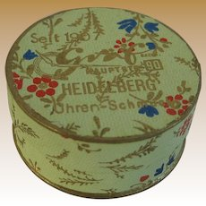 Antique Doll German paper litho small Powder Puff box c1907