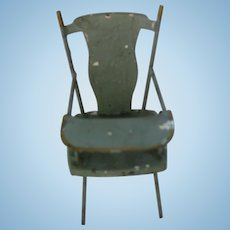 Antique German miniature doll house Green Tin Youth chair