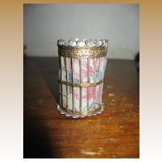 Antique German  Dollhouse Miniature Gilt Pewter wastebasket