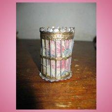 Antique German  Dollhouse Miniature Gilt Pewter wastebasket