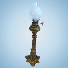Antique German doll house miniature gilt painted pewter Large floor Lamp decorative base