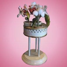 Antique German Marklin miniature white tin round Plant Stand