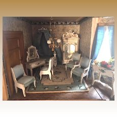 Fabulous French antique Gottschalk doll house Bedroom Suite small doll Mignonette
