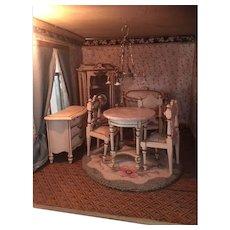 Antique French miniature doll house Ornate wood Parlor Suite furniture Paul Leonhardt Mignonette
