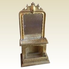 Antique miniature doll house German Erhard & Söhne Ormolu large mirrored Decorative Fireplace