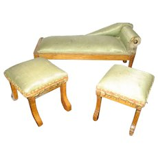 Antique doll house French miniature Green silk chaise 2 stools