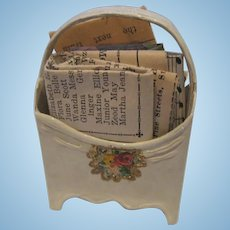 Antique French Miniature Doll House white floral magazine holder