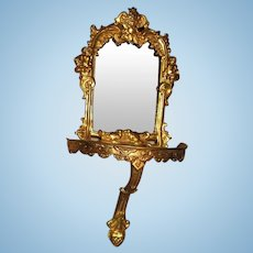 Antique German Erhard & Söhne Miniature Doll House ormolu Mirror wall decor