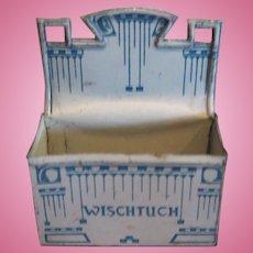 Antique German doll house miniature kitchen Blue white tin Wischtuch wall bin