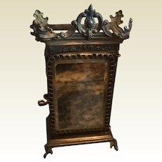 Antique French Miniature decorative gilt metal mirrored small Vitrine armoire