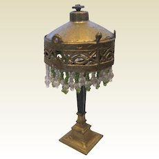 Antique doll house miniature gilt metal beaded Lamp