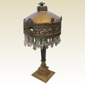 Antique doll house miniature gilt metal beaded Lamp