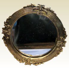 Vintage decorative ribbon round doll house vignette metal mirror