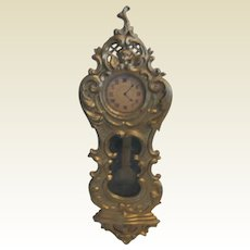 Antique German Doll house Miniature Gilt Pewter wall clock