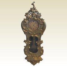 Antique German Doll house Miniature Gilt Pewter wall clock