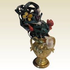 Antique German doll house miniature Ormolu Vase