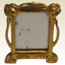 Antique Ormolu German Art Nouveau Miniature easel back mirror