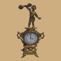 Antique German Miniature Doll House Gilt figural metal clock