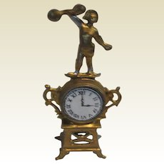 Antique German Miniature Doll House Gilt figural metal clock