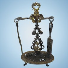 Antique doll house miniature Asphaltum finish Fireplace tool stand