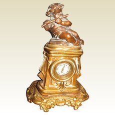 Antique German miniature doll house ormolu Decorative Cherub clock