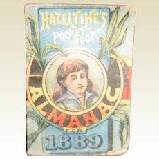 Antique Miniature Hazeltine's Pocket Book Almanac for 1889