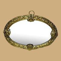 Antique German doll house miniature Decorative oval Ormolu large wall Mirror