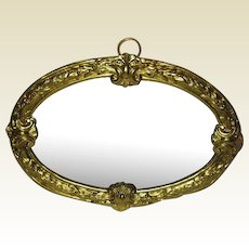 Antique German doll house miniature Decorative oval Ormolu large wall Mirror