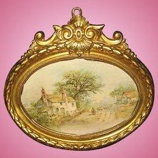 Antique German doll house miniature decorative oval Ormolu Home picture